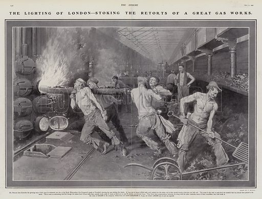 Workers stoking retorts at the South Metropolitan Gas Company's works. Vauxhall, London, 1907. Illustration for The Sphere, Vol 29, 6 April - 29 June 1907.