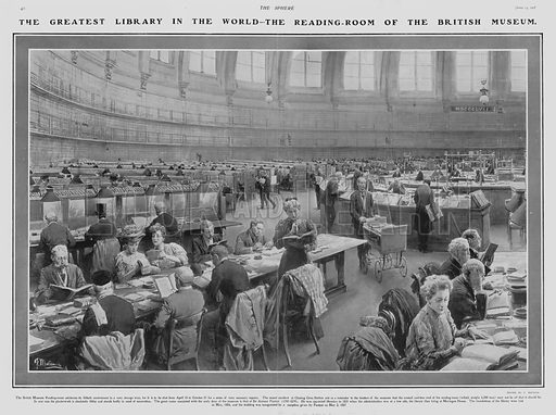 Reading room of the British Museum, London. Illustration for The Sphere, Vol 29, 6 April - 29 June 1907.