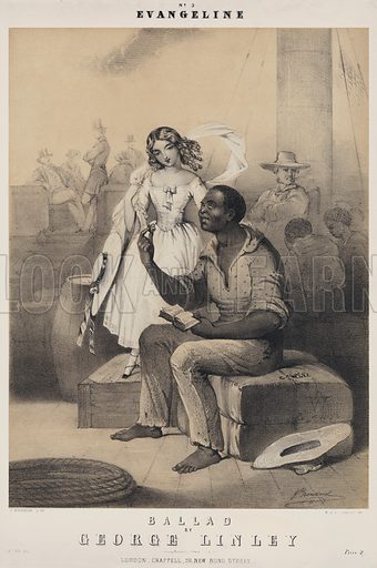 Evangeline, ballad by George Linley. Sheet music cover.