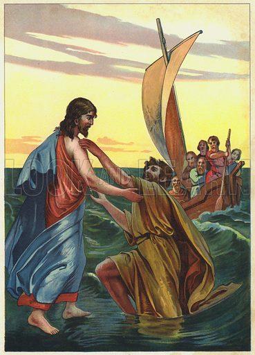 Jesus walking on water. Illustration from Friede Sei Mit Diesem Hause! (Richard Hermann Dietrich, Dresden, 1903).