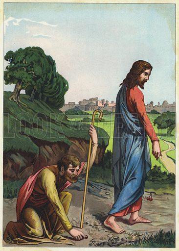 """Jesus telling a man """"Seek, and ye shall find"""". Illustration from Friede Sei Mit Diesem Hause! (Richard Hermann Dietrich, Dresden, 1903)."""