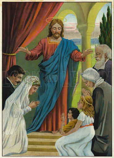 The love of Jesus. Illustration from Friede Sei Mit Diesem Hause! (Richard Hermann Dietrich, Dresden, 1903).