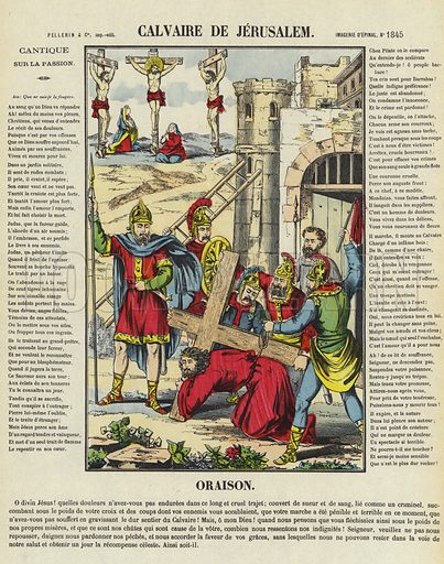 Jesus carrying his Cross to Calvary, Jerusalem. Illustration from Le Pelerin, early 20th Century.