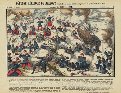 Defence of Belfort by Colonel Denfert-Rochereau and the garrison and populace of the town, Franco-Prussian War, 1870-1871. Illustration from Le Pelerin, early 20th Century.