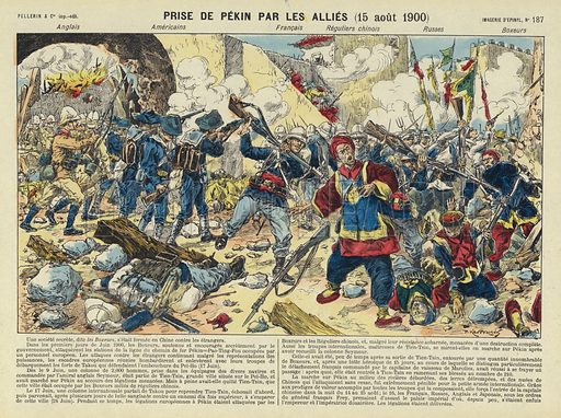 Capture of Beijing by the Allies, Boxer Rebellion, China, 15 August 1900. Illustration from Le Pelerin, early 20th Century.