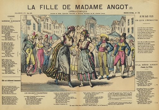 La Fille de Madame Angot, comic opera by French composer Charles Lecocq. Illustration from Le Pelerin, early 20th Century.