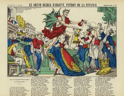 The great devil Money, patron of finance. Illustration from Le Pelerin, early 20th Century.