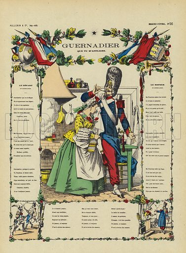 Guernadier, French song about a soldier leaving his sweetheart to go off to war and returning afterwards. Illustration from Le Pelerin, early 20th Century.