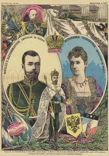 Tsar Nicholas II and Tsarina Alexandra of Russia. Illustration from Le Pelerin, early 20th Century.