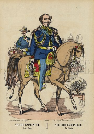 King Victor Emmanuel II of Italy (1820-1878). Illustration from Le Pelerin, early 20th Century.