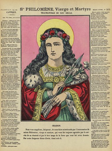 St Philomena, virgin and martyr. Illustration from Le Pelerin, early 20th Century.