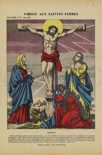 Christ on the Cross and the Holy Women. Illustration from Le Pelerin, early 20th Century.