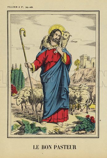 Jesus Christ, the Good Shepherd. Illustration from Le Pelerin, early 20th Century.