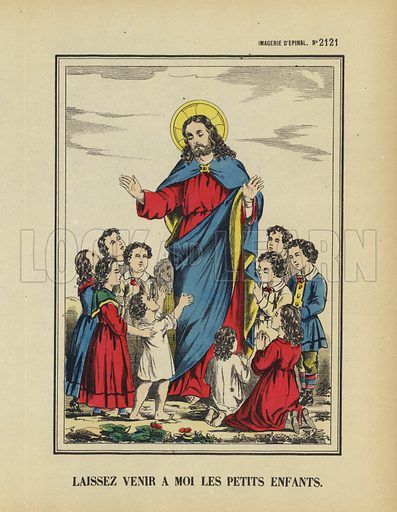 Jesus calling the children to come unto him. Illustration from Le Pelerin, early 20th Century.