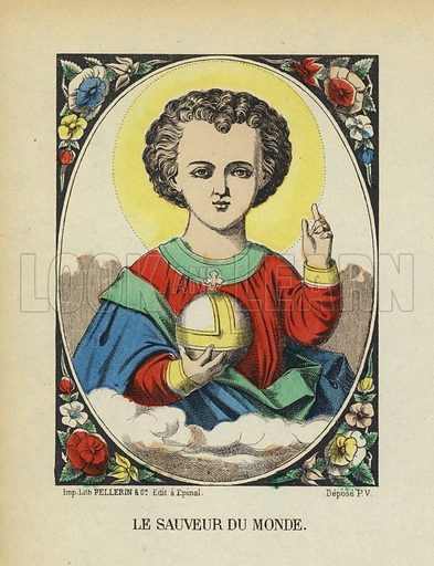 Jesus Christ, Saviour of the World. Illustration from Le Pelerin, early 20th Century.
