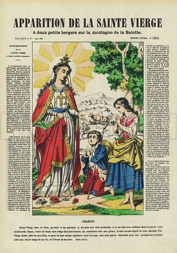 Apparition of the Virgin Mary to two young children on a mountainside at La Salette-Fallavaux, Isere, France, 1846. Illustration from Le Pelerin, early 20th Century.