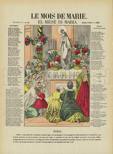 The Month of Mary. Illustration from Le Pelerin, early 20th Century.