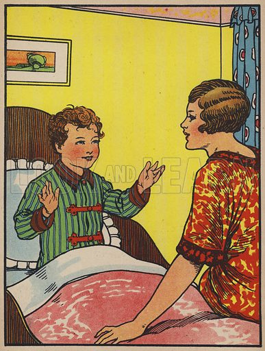 Peter was busy telling his mother all about it. Illustration from Peter Comes to Town (c1930s).