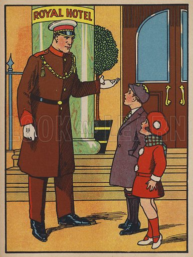 You are quite right. This is the place, said the attendant outside the Royal Hotel. Illustration from Peter Comes to Town (c1930s).