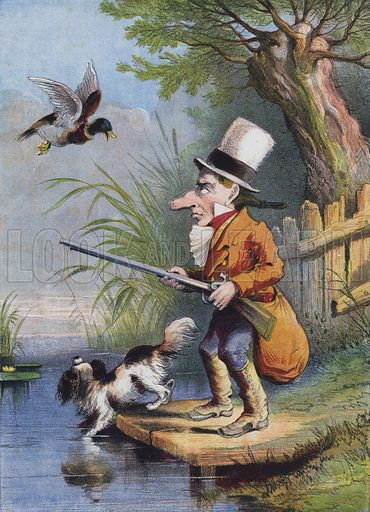 The Little Man and His Gun. Illustration from Pictures for Pets with Rambling Rhymes (T Nelson & Sons, London and Edinburgh, c1869).