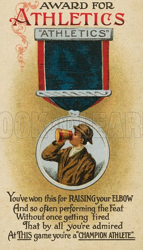 Award for 'athletics' or, rather, drinking. Postcard, early 20th century.