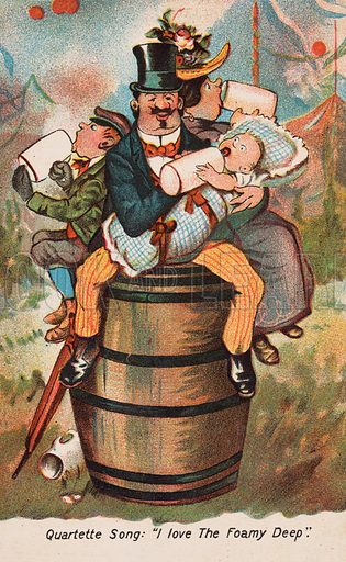 Family sitting on a barrel and drinking. Postcard, early 20th century.