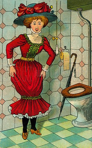 Fashion victim: Edwardian woman realising the cut of her dress presents a problem when going to the toilet. Postcard, early 20th century.