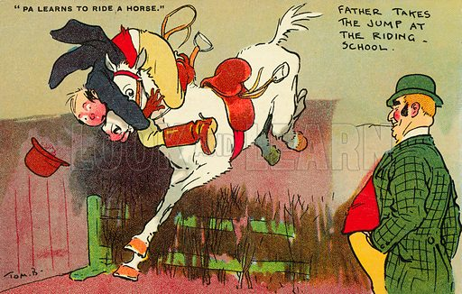 A mishap when learning to ride a horse. Postcard, early 20th century.