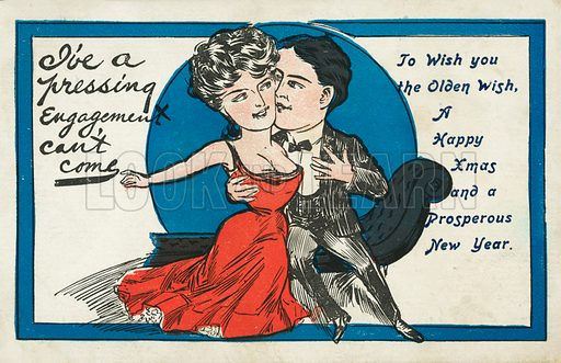 Couple embracing, Christmas card. Postcard, early 20th century.