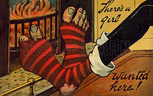Man warming his feet by the fire and wishing he had a girl to darn the holes in his socks. Postcard, early 20th century.