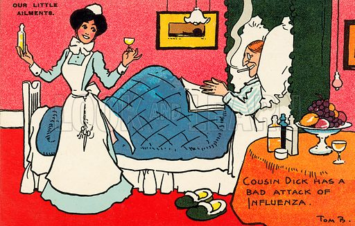 Maid bringing medicine to her master, ill in bed with the flu. Postcard, early 20th century.