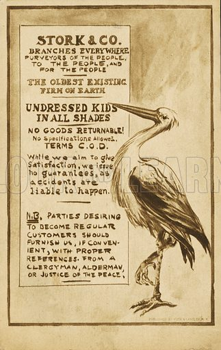 Stork & Co: spoof advertisement based on the idea of the stork delivering newborn babies. Postcard, early 20th century.