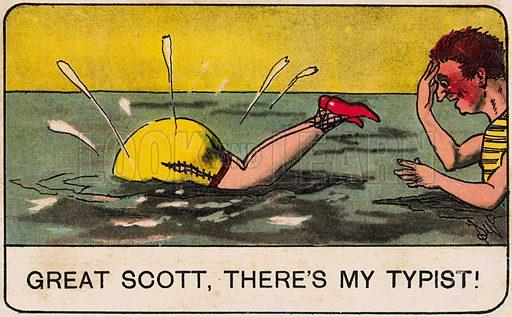 Saucy seaside bathing scene. Postcard, early 20th century.
