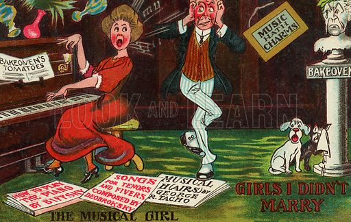 Man annoyed by the loud singing of a woman at a piano. Postcard, early 20th century.