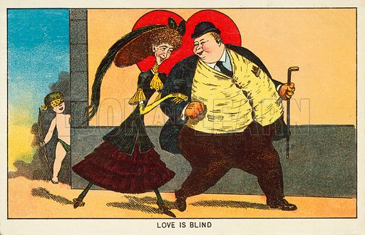 Love is blind. Postcard, early 20th century.
