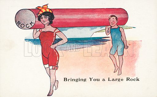 Man and woman carrying a large stick of rock at the seaside. Postcard, early 20th century.
