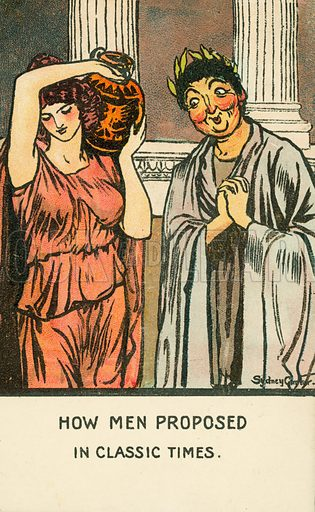 Marriage proposal in Classical times. Postcard, early 20th century.
