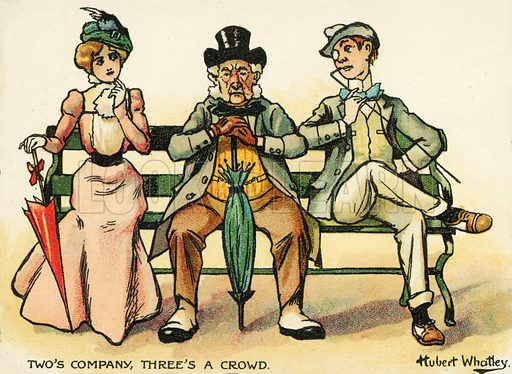 Two's company, three's a crowd. Postcard, early 20th century.