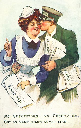 Newspaper delivery man kissing a maid. Postcard, early 20th century.