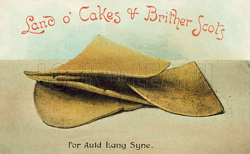 Scottish oatcakes. Postcard, early 20th century.