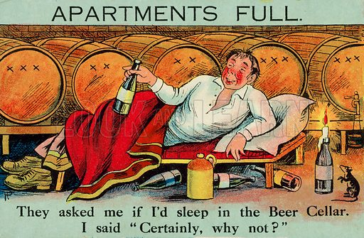 Man enjoying the opportunity to sleep in a beer cellar