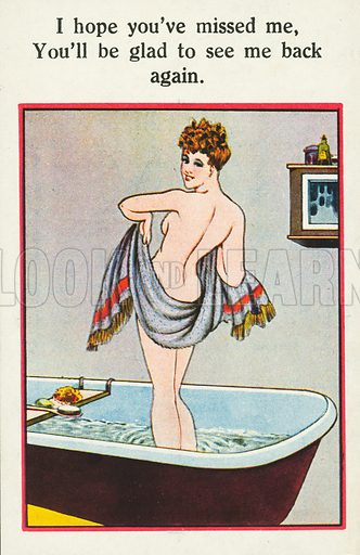 Woman drying herself after a bath. Postcard, early 20th century.