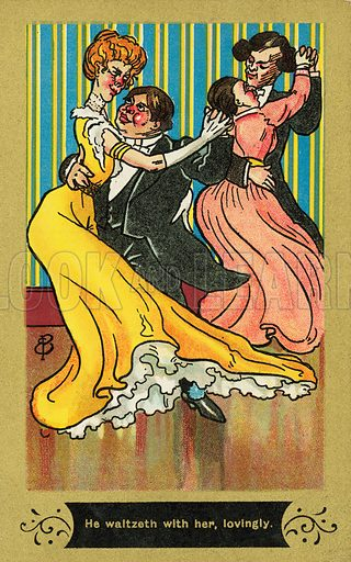Couples dancing a waltz. Postcard, early 20th century.