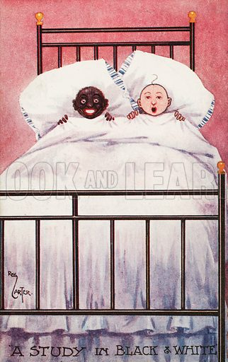 Black and white children in a bed. Postcard, early 20th century.