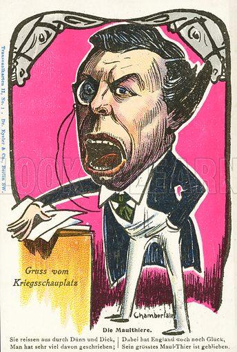 German Boer War era caricature of English politician Joseph Chamberlain. Postcard, early 20th century.