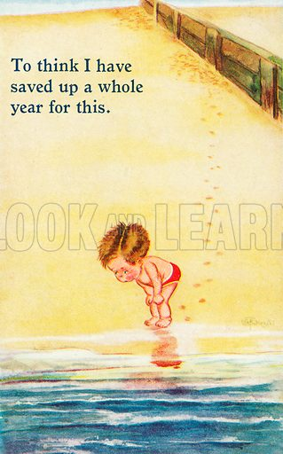 Little boy considering whether to go into the sea on holiday. Postcard, early 20th century.