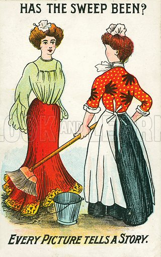 Servant girl after a romantic encounter with a chimney sweep