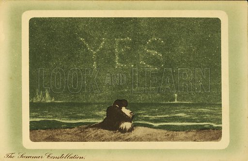 The summer constellations: lovers on a beach at night looking at the stars. Postcard, early 20th century.
