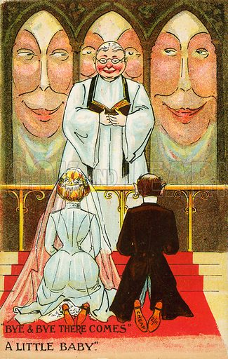 Couple getting married. Postcard, early 20th century.