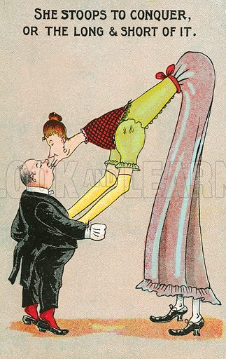 Very tall woman bending over to kiss a short man. Postcard, early 20th century.